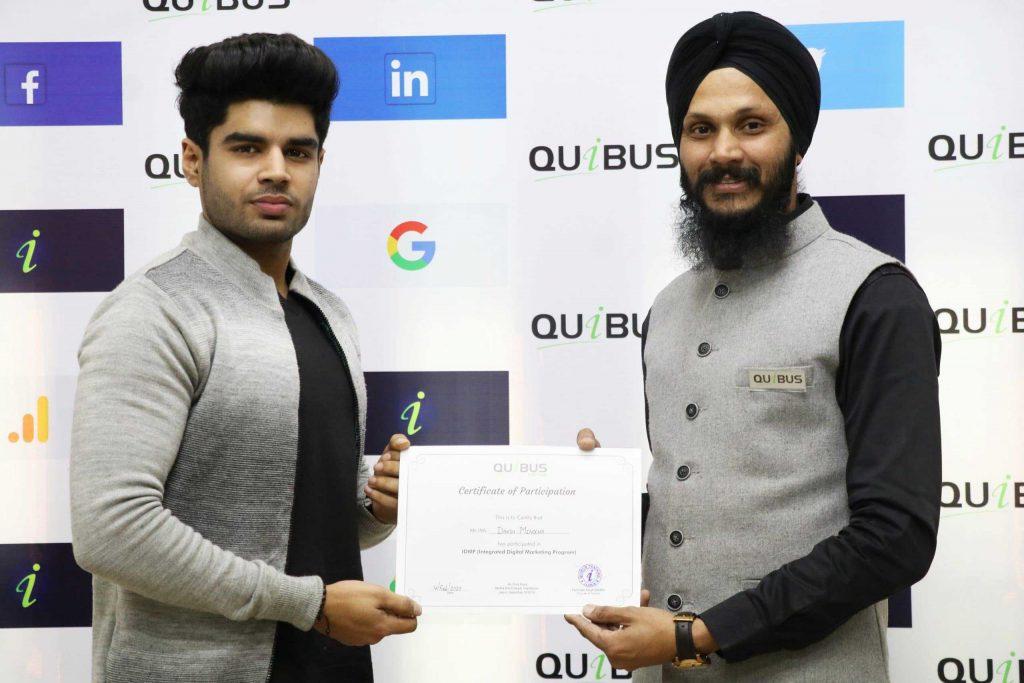 Digital Marketing Certificate from Quibus Trainings