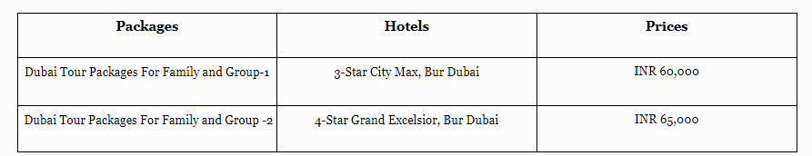 Dubai tour packages prices for family and friends