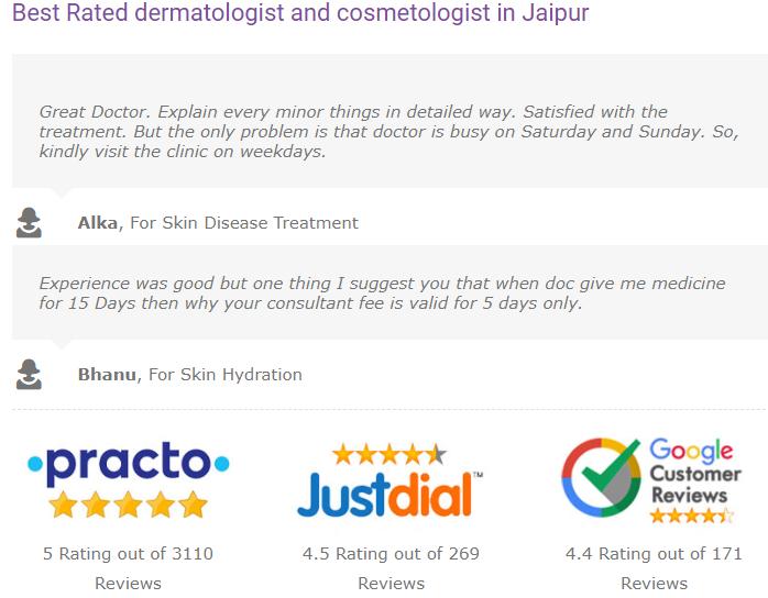 Reviews of best dermatologist in Jaipur