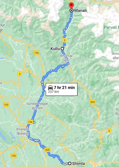 Shimla to manali via kullu road map