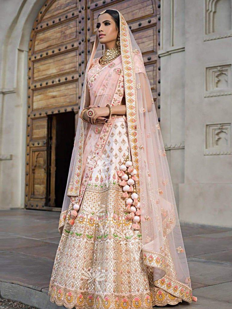 peach bridal lehenga