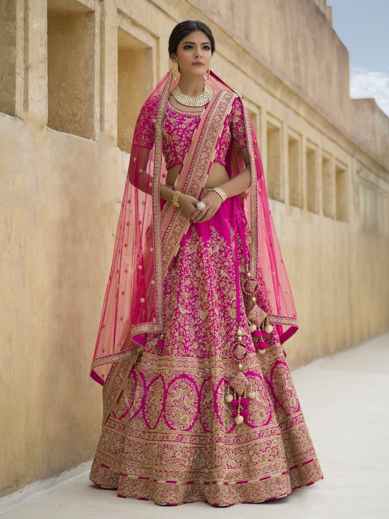 pink zardosi bridal lehenga from vasansi