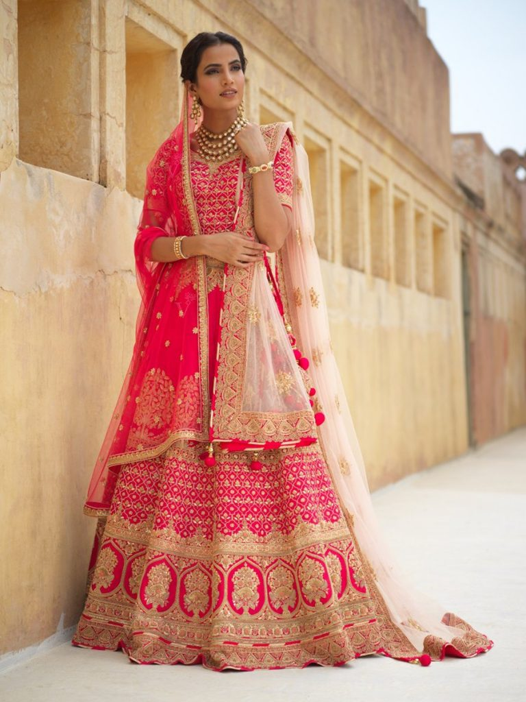 pink lehenga for bride from vasansi jaipur