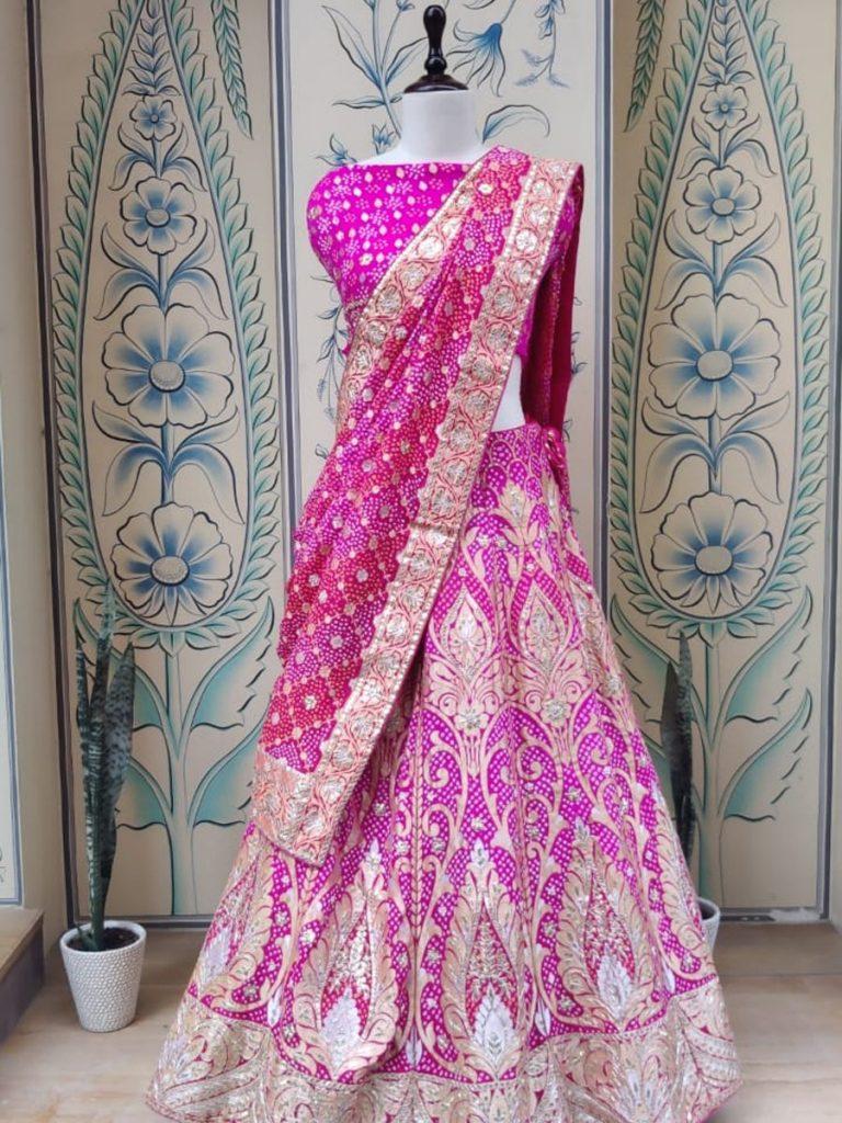 pink real zari bandhani bridal lehenga from Vasansi Jaipur