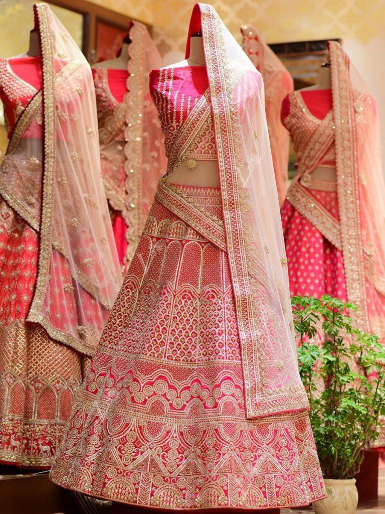 pink silk bridal lehenga from Vasansi Jaipur