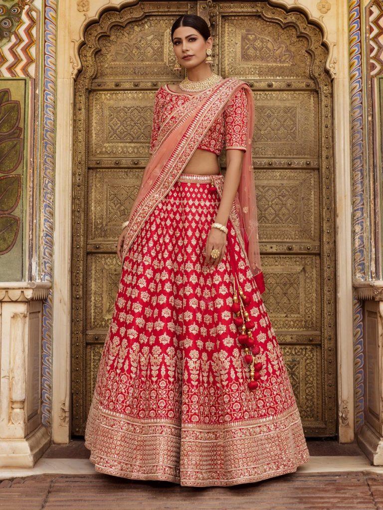 red bridal lehenga for wedding from vasansi Jaipur