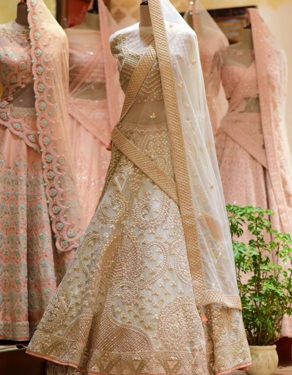 Embroidered Lehenga Choli with Organza Dupatta=Vasansi Jaipur