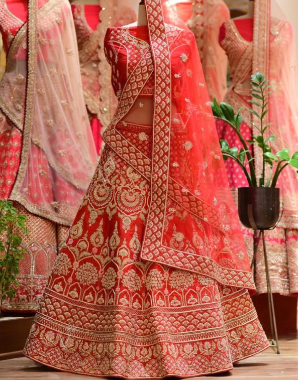 Raw Silk Lehenga and Blouse with Net Dupatta-Vasansi