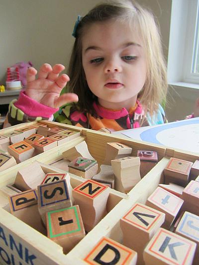 alphabet blocks- Literacy Activities for Preschoolers