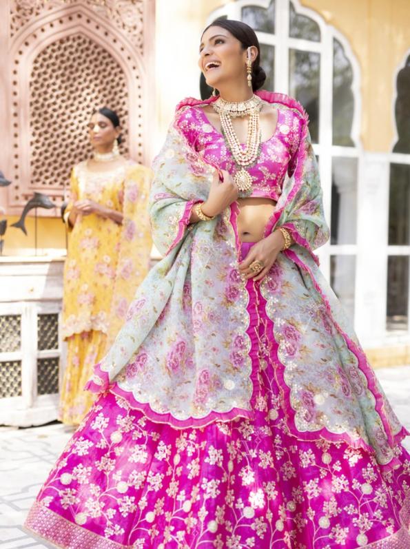 Pink Aari Gota Lehenga Choli with floral dupatta-Vasansi Jaipur