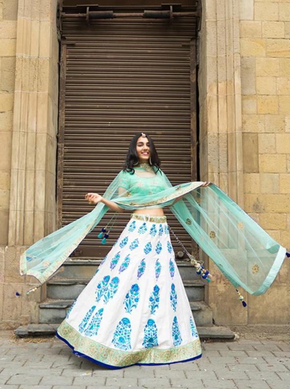 Off- White and Indigo block print lehenga Choli -Vasansi Jaipur