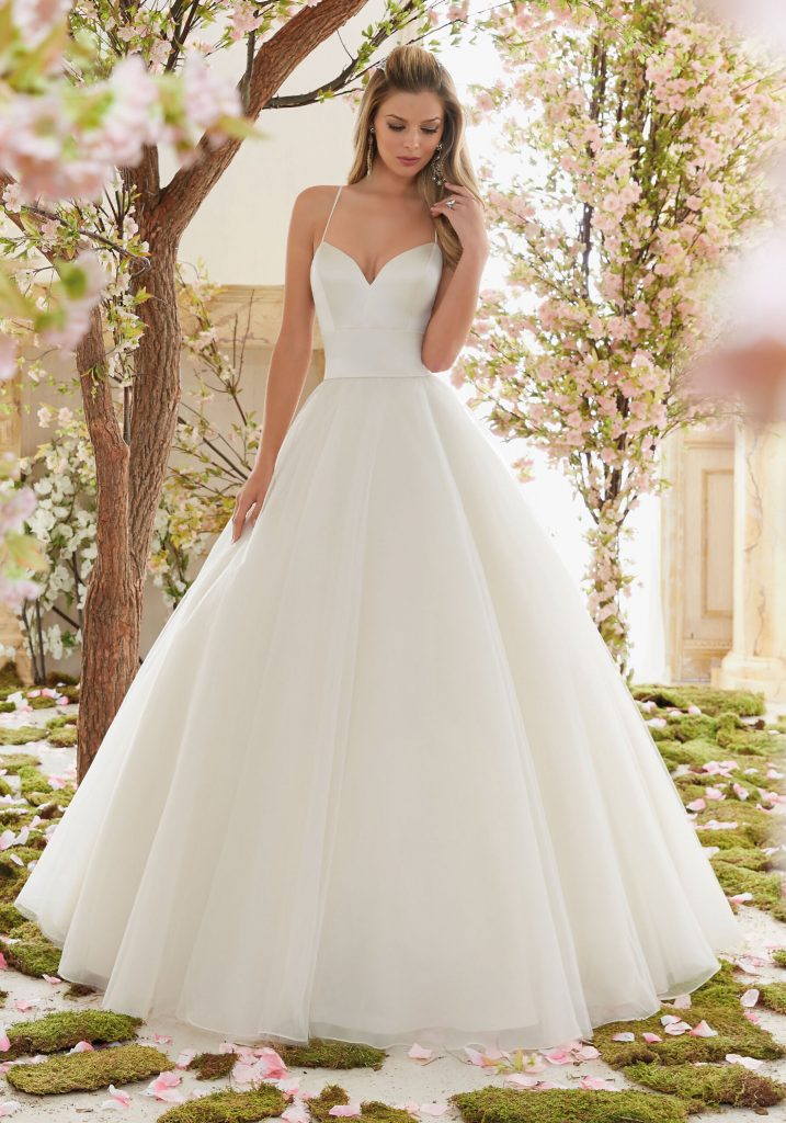Ball gown with asymmetric tiered skirt