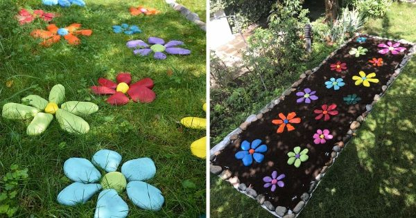 Decorate your garden with colored stones.