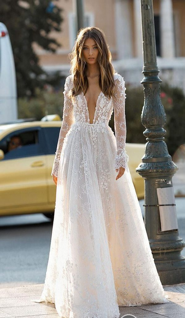 deep V-neck gown for wedding