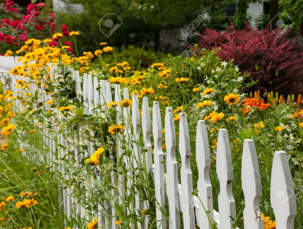 Decorate fencing with flowers