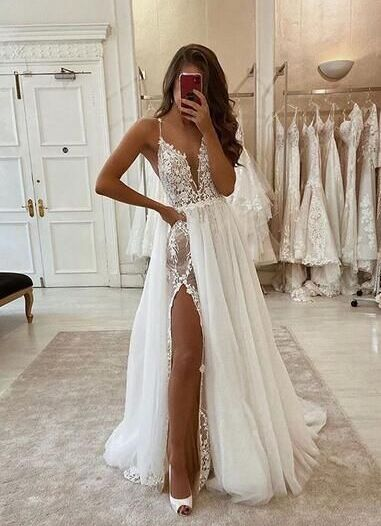 lace side cut outs sexy wedding dress