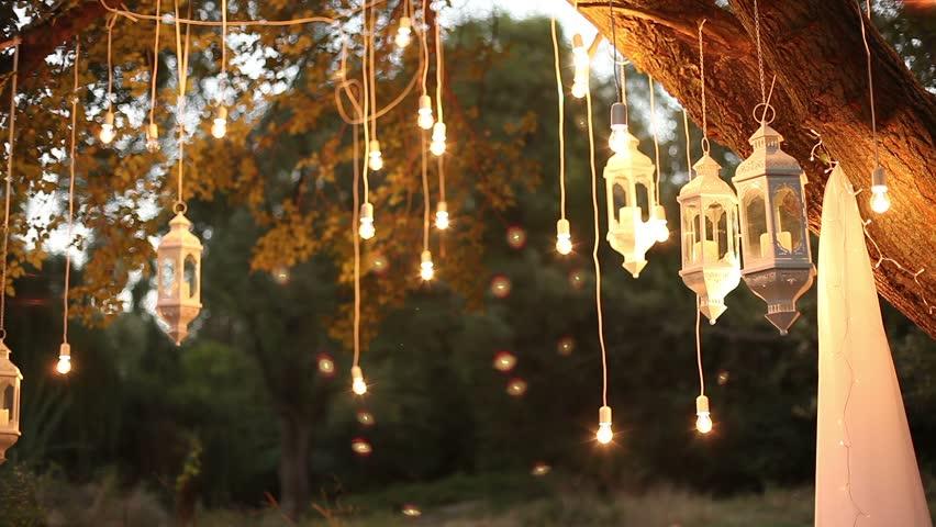 Decorate garden with lanterns
