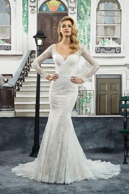 Clean crepe long sleeve gown