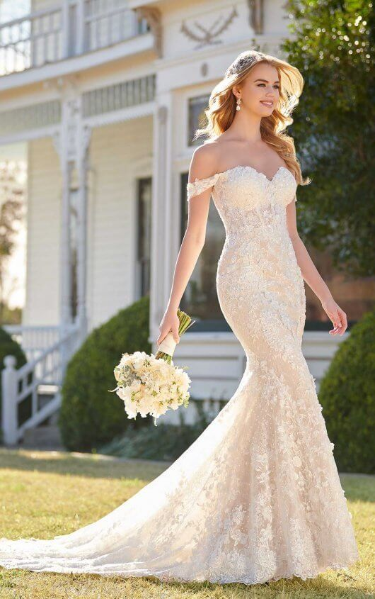 Off shoulder fit and flare gown for wedding